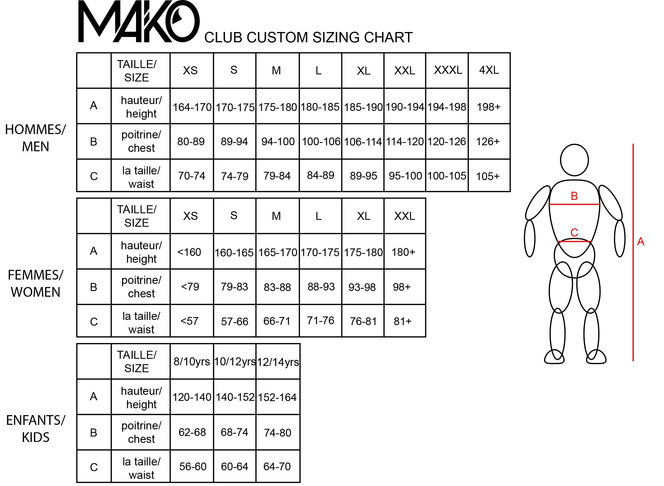 Tableaux de tailles Cyclisme Mako